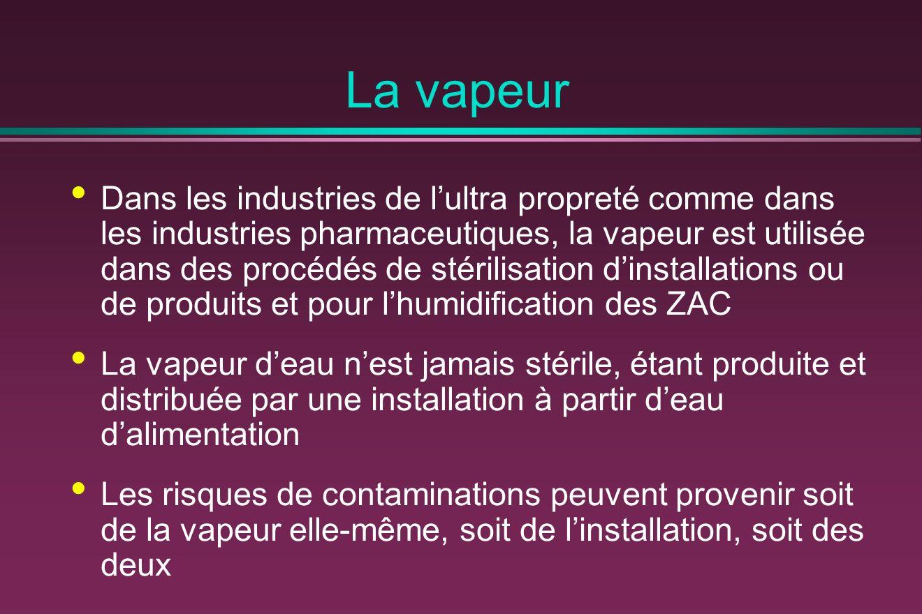 La vapeur Dans les industries de lultra propreté comme dans les industries pharmaceutiques, la vapeur est utilisée dans des procédés de stérilisation dinstallations ou de produits et pour lhumidification des ZAC La vapeur deau nest jamais stérile, étant produite et distribuée par une installation à partir deau dalimentation Les risques de contaminations peuvent provenir soit de la vapeur elle-même, soit de linstallation, soit des deux