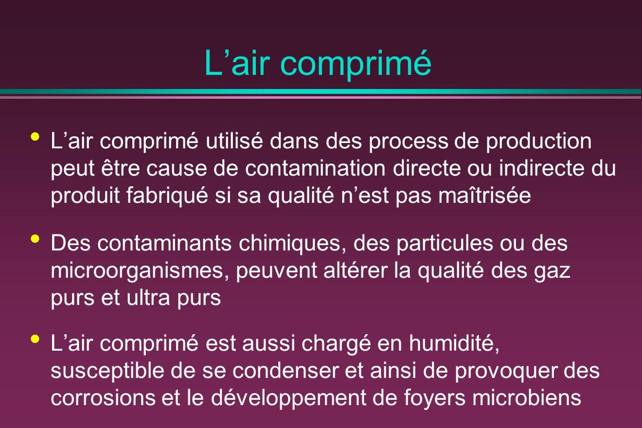 Lair comprimé Lair comprimé utilisé dans des process de production peut être cause de contamination directe ou indirecte du produit fabriqué si sa qua