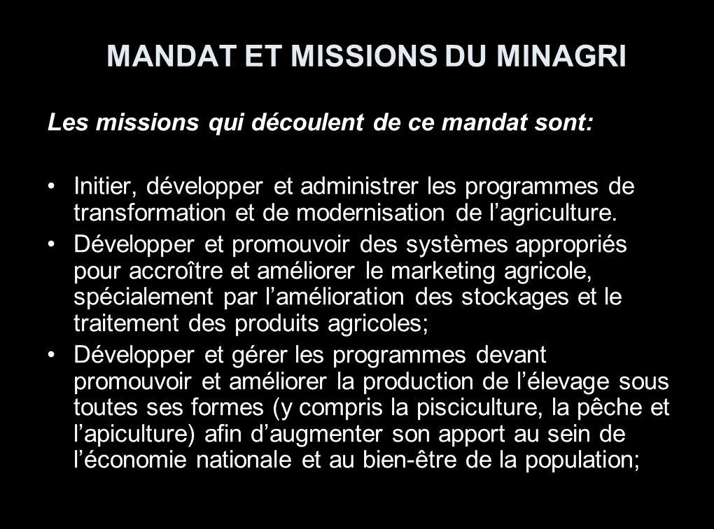 Analyse Budgétaire Mandat Le MINAGRI a comme mandat de formuler et mettre en exécution les politiques et stratégies agricoles visant à contribuer à la