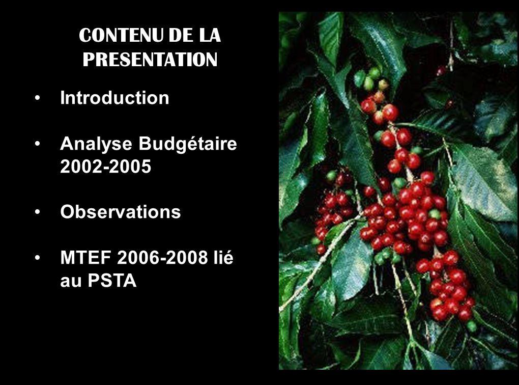 CONTENU DE LA PRESENTATION Introduction Analyse Budgétaire 2002-2005 Observations MTEF 2006-2008 lié au PSTA