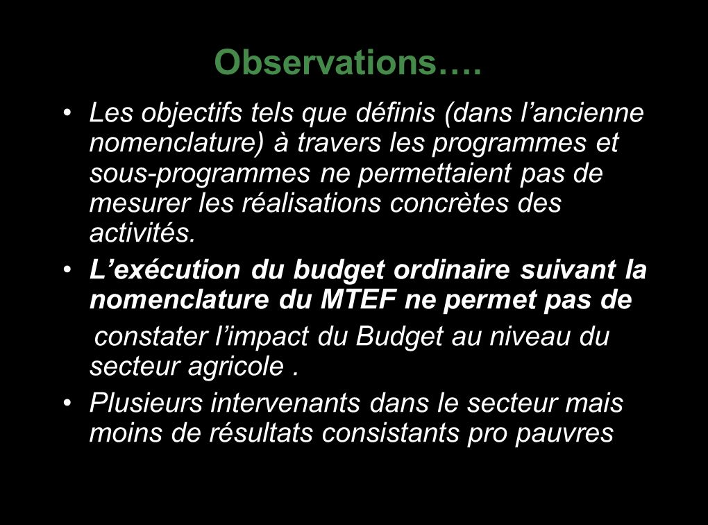 Allocation du Budget de Développement en Agriculture (1999-2006) AnnéeBD alloué à lAgriculture (Md RFW) Montant du BD National (Md FRW) % de l Agriculture dans le BD National Montant Total du Budget National (Md FRW) % de l Agriculture dans le B national 199914,6277,1518,95174,098,4 20006,7566,210,19128,055,27 200110,7356,8418,87184,885,8 20026,9556,412,32151,244,5 20037,4265,1111,4252,0282,94 20049,9186,7711,4328,913,01 20057,95109,947,23374,323,38 20068,05111,37,23404,73,13