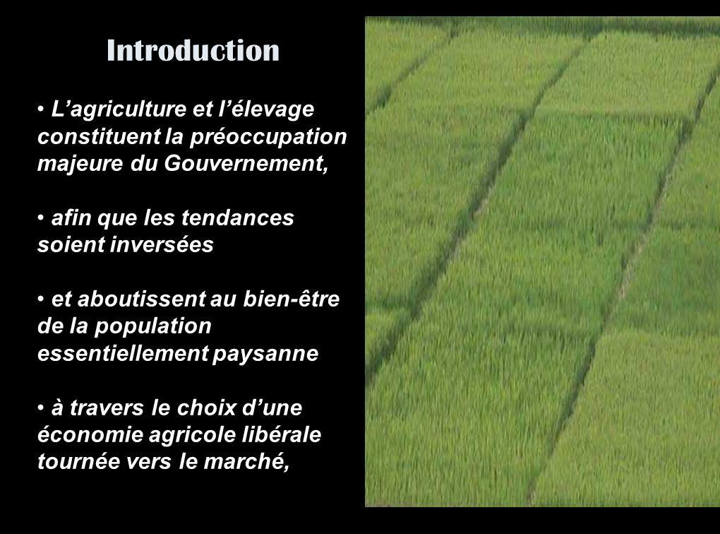 Introduction Lagriculture et lélevage constituent la préoccupation majeure du Gouvernement, afin que les tendances soient inversées et aboutissent au bien-être de la population essentiellement paysanne à travers le choix dune économie agricole libérale tournée vers le marché,