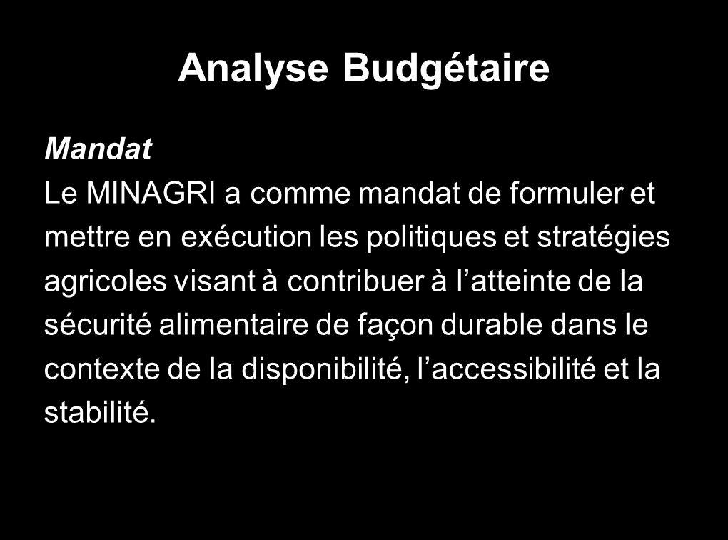 Analyse Budgétaire Mandat Le MINAGRI a comme mandat de formuler et mettre en exécution les politiques et stratégies agricoles visant à contribuer à latteinte de la sécurité alimentaire de façon durable dans le contexte de la disponibilité, laccessibilité et la stabilité.