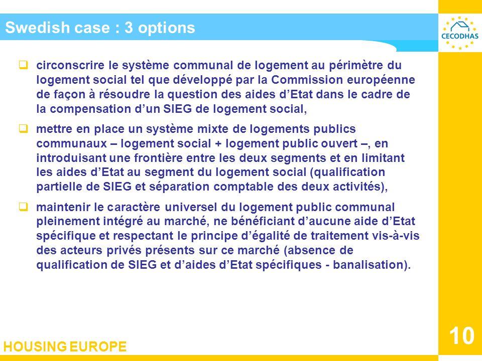 HOUSING EUROPE 10 Swedish case : 3 options circonscrire le système communal de logement au périmètre du logement social tel que développé par la Commi