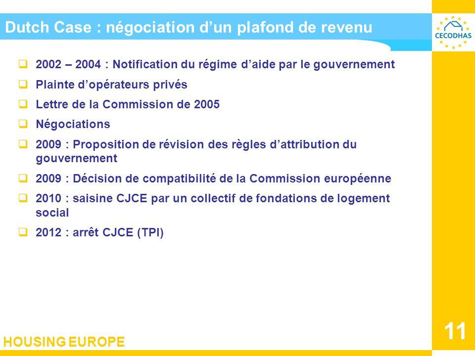 HOUSING EUROPE 11 Dutch Case : négociation dun plafond de revenu 2002 – 2004 : Notification du régime daide par le gouvernement Plainte dopérateurs pr