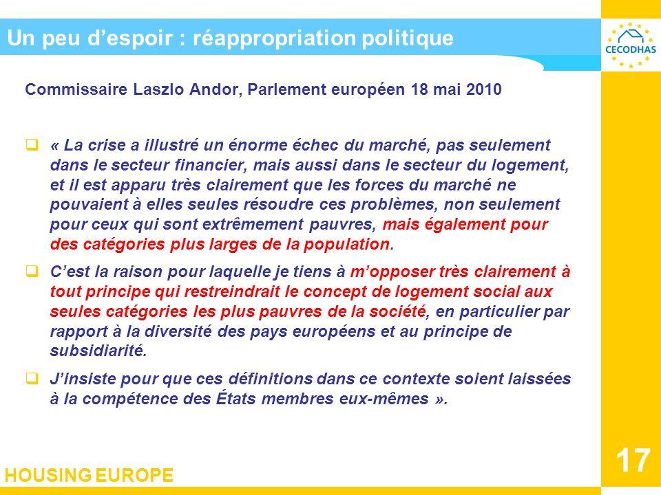 HOUSING EUROPE 17 Un peu despoir : réappropriation politique Commissaire Laszlo Andor, Parlement européen 18 mai 2010 « La crise a illustré un énorme