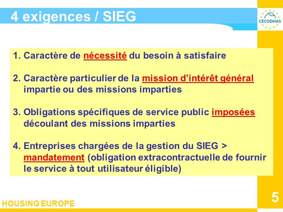 HOUSING EUROPE 5 4 exigences / SIEG 1.Caractère de nécessité du besoin à satisfaire 2.Caractère particulier de la mission dintérêt général impartie ou
