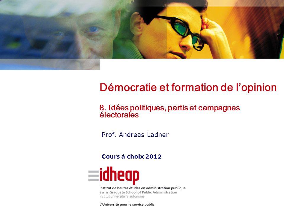 Prof. Andreas Ladner Cours à choix 2012 Démocratie et formation de lopinion 8. Idées politiques, partis et campagnes électorales