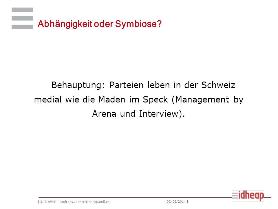 | ©IDHEAP – Andreas.Ladner@idheap.unil.ch | | 02/05/2014 | Abhängigkeit oder Symbiose? Behauptung: Parteien leben in der Schweiz medial wie die Maden
