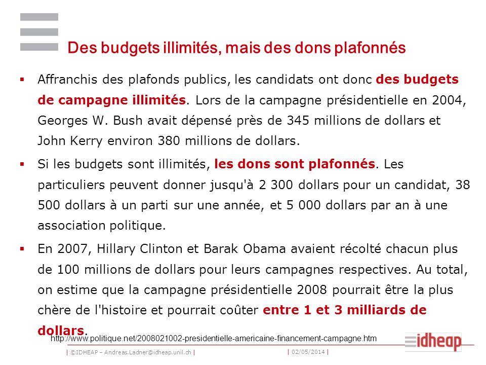 | ©IDHEAP – Andreas.Ladner@idheap.unil.ch | | 02/05/2014 | Des budgets illimités, mais des dons plafonnés Affranchis des plafonds publics, les candidats ont donc des budgets de campagne illimités.