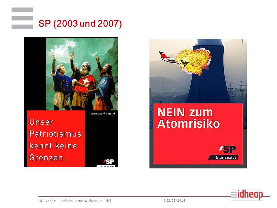 | ©IDHEAP – Andreas.Ladner@idheap.unil.ch | | 02/05/2014 | SP (2003 und 2007)