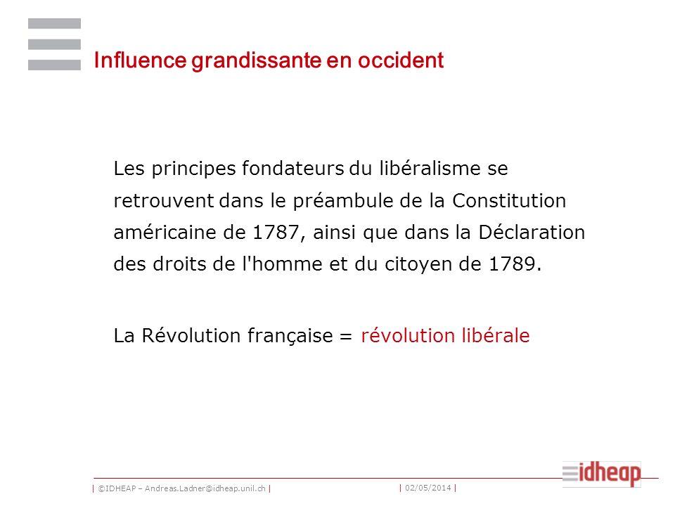 | ©IDHEAP – Andreas.Ladner@idheap.unil.ch | | 02/05/2014 | Influence grandissante en occident Les principes fondateurs du libéralisme se retrouvent dans le préambule de la Constitution américaine de 1787, ainsi que dans la Déclaration des droits de l homme et du citoyen de 1789.
