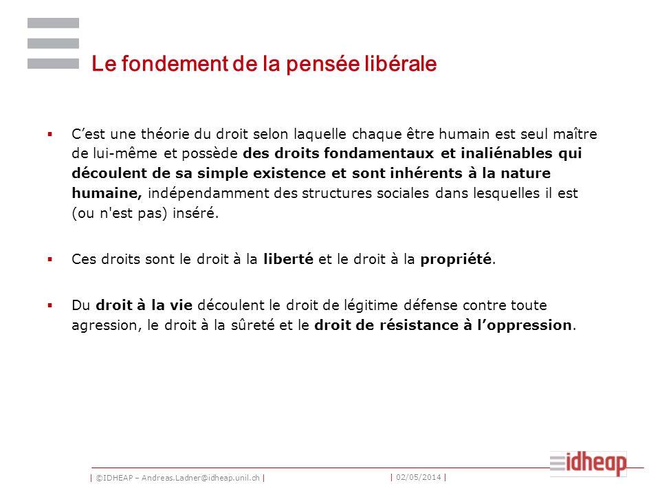 | ©IDHEAP – Andreas.Ladner@idheap.unil.ch | | 02/05/2014 | Le fondement de la pensée libérale Cest une théorie du droit selon laquelle chaque être hum