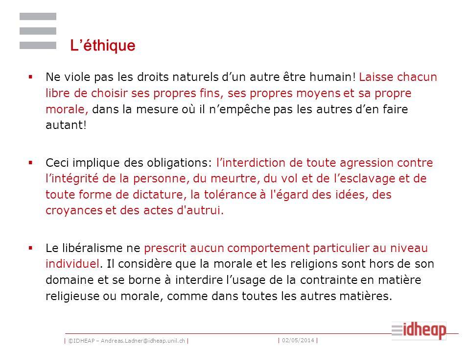 | ©IDHEAP – Andreas.Ladner@idheap.unil.ch | | 02/05/2014 | Léthique Ne viole pas les droits naturels dun autre être humain! Laisse chacun libre de cho
