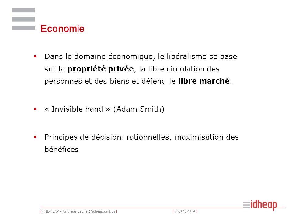 | ©IDHEAP – Andreas.Ladner@idheap.unil.ch | | 02/05/2014 | Economie Dans le domaine économique, le libéralisme se base sur la propriété privée, la libre circulation des personnes et des biens et défend le libre marché.