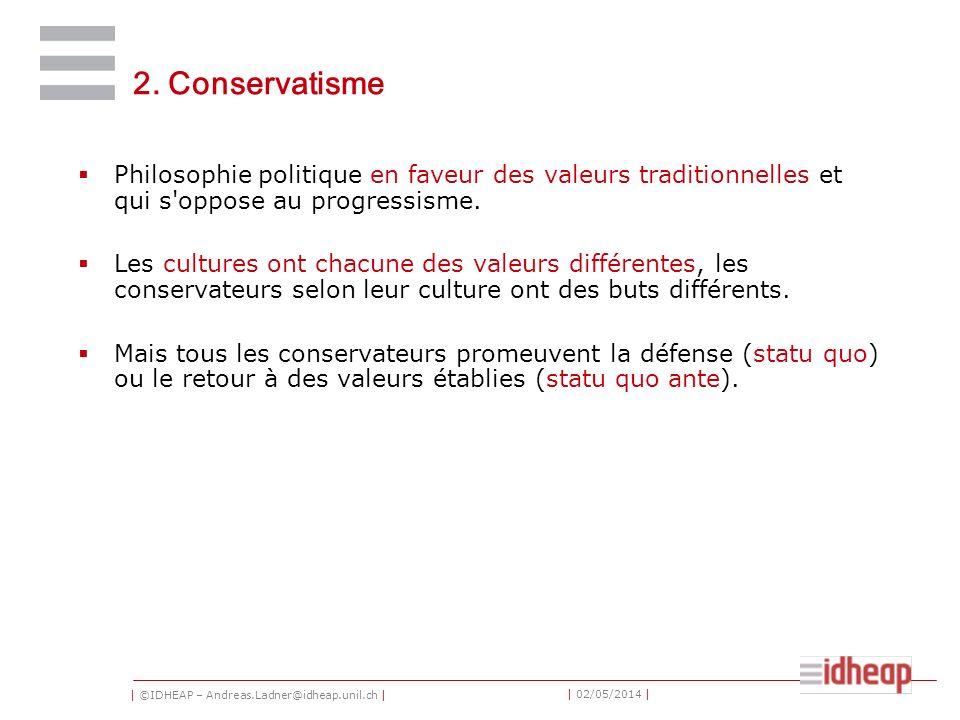 | ©IDHEAP – Andreas.Ladner@idheap.unil.ch | | 02/05/2014 | 2. Conservatisme Philosophie politique en faveur des valeurs traditionnelles et qui s'oppos