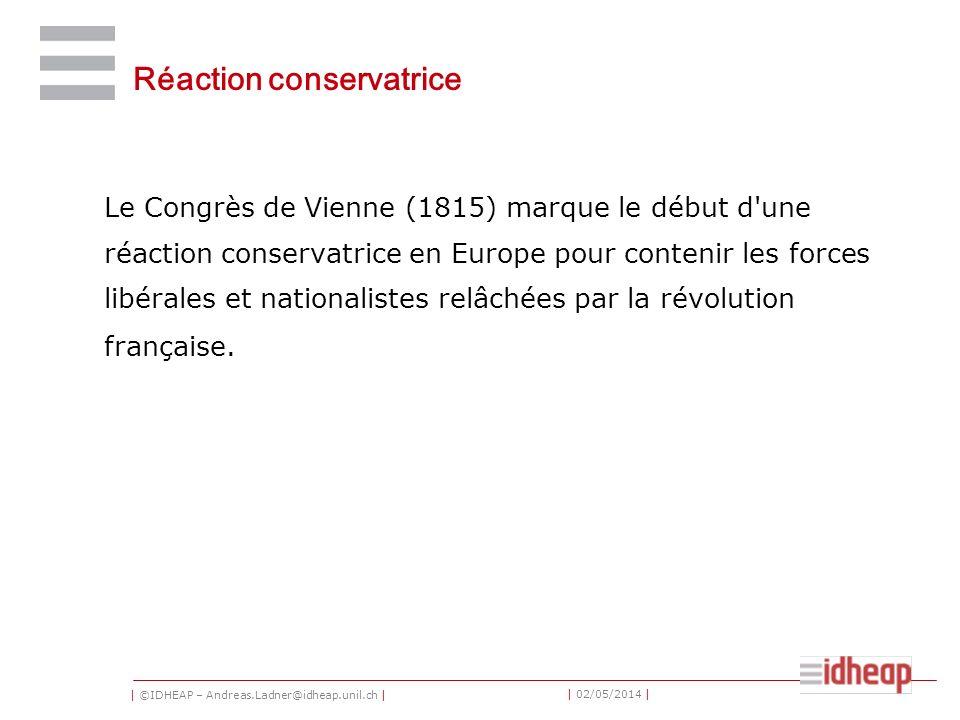 | ©IDHEAP – Andreas.Ladner@idheap.unil.ch | | 02/05/2014 | Réaction conservatrice Le Congrès de Vienne (1815) marque le début d une réaction conservatrice en Europe pour contenir les forces libérales et nationalistes relâchées par la révolution française.