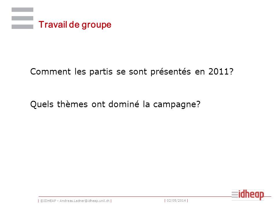 | ©IDHEAP – Andreas.Ladner@idheap.unil.ch | | 02/05/2014 | Travail de groupe Comment les partis se sont présentés en 2011? Quels thèmes ont dominé la