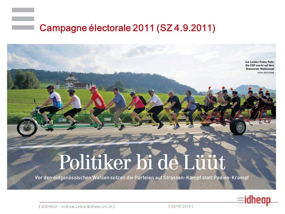 | ©IDHEAP – Andreas.Ladner@idheap.unil.ch | | 02/05/2014 | Campagne électorale 2011 (SZ 4.9.2011)