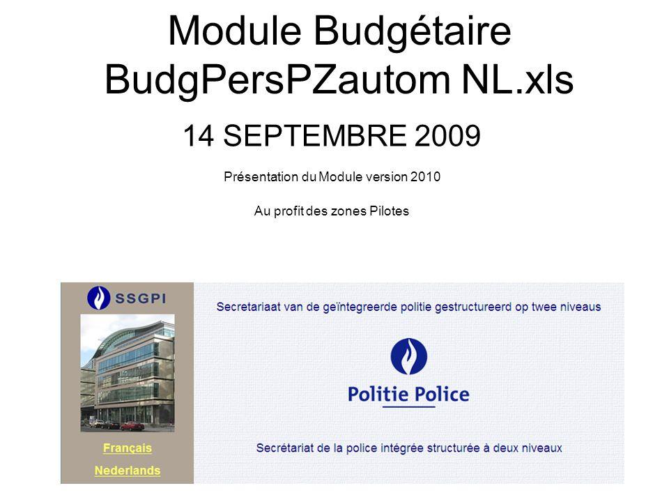 Module Budgétaire BudgPersPZautom NL.xls 14 SEPTEMBRE 2009 Présentation du Module version 2010 Au profit des zones Pilotes