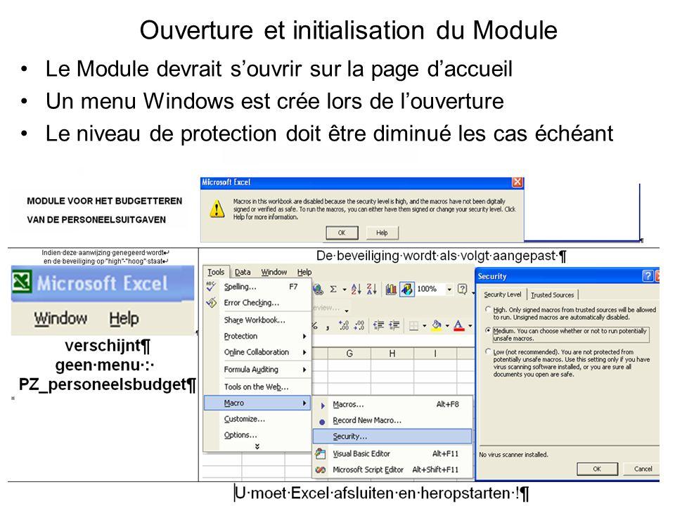 Ouverture et initialisation du Module Le Module devrait souvrir sur la page daccueil Un menu Windows est crée lors de louverture Le niveau de protecti