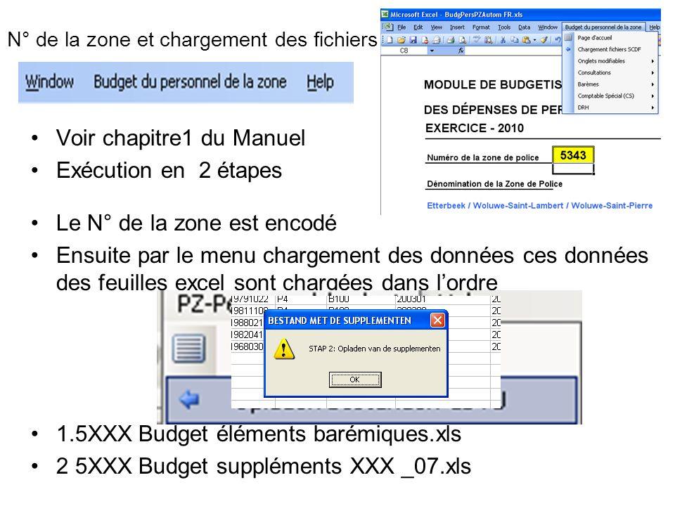 N° de la zone et chargement des fichiers Voir chapitre1 du Manuel Exécution en 2 étapes Le N° de la zone est encodé Ensuite par le menu chargement des
