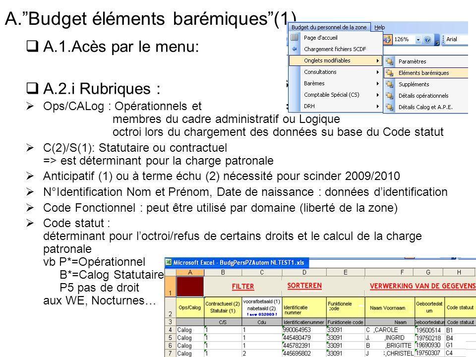 A.Budget éléments barémiques(1) A.1.Acès par le menu: A.2.i Rubriques : Ops/CALog : Opérationnels et membres du cadre administratif ou Logique octroi