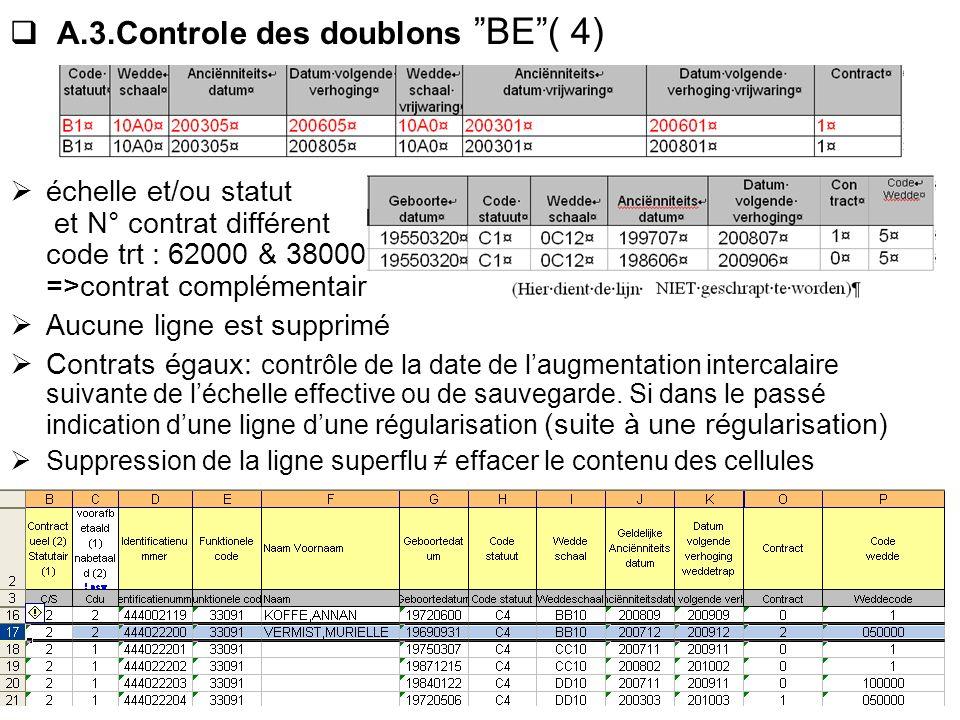 A.3.Controle des doublons BE( 4) échelle et/ou statut et N° contrat différent code trt : 62000 & 38000 =>contrat complémentaire Aucune ligne est suppr