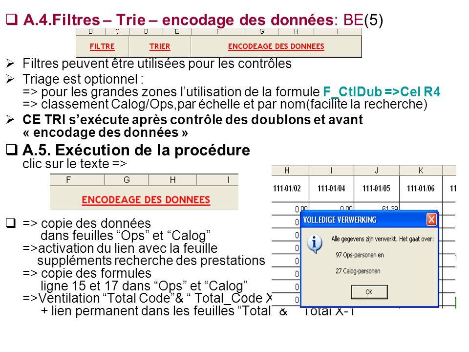 A.4.Filtres – Trie – encodage des données: BE(5) Filtres peuvent être utilisées pour les contrôles Triage est optionnel : => pour les grandes zones lu