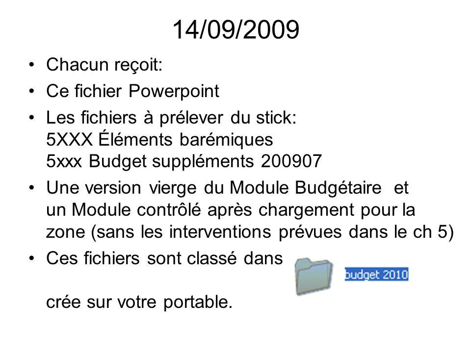 14/09/2009 Chacun reçoit: Ce fichier Powerpoint Les fichiers à prélever du stick: 5XXX Éléments barémiques 5xxx Budget suppléments 200907 Une version