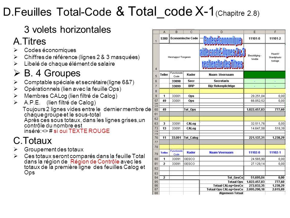 D.Feuilles Total-Code & Total_code X-1 (Chapitre 2.8) 3 volets horizontales A.Titres Codes économiques Chiffres de référence (lignes 2 & 3 masquées) L