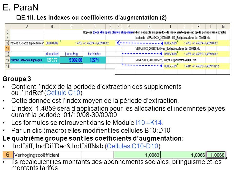 E. ParaN Groupe 3 Contient lindex de la période dextraction des suppléments ou lIndRef (Cellule C10) Cette donnée est lindex moyen de la période dextr