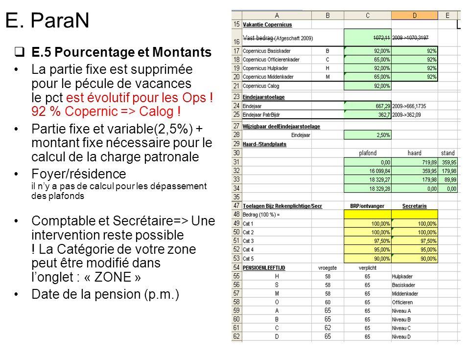 E. ParaN E.5 Pourcentage et Montants La partie fixe est supprimée pour le pécule de vacances le pct est évolutif pour les Ops ! 92 % Copernic => Calog