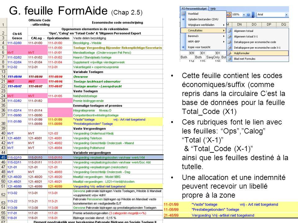 G. feuille FormAide (Chap 2.5) Cette feuille contient les codes économiques/suffix (comme repris dans la circulaire Cest la base de données pour la fe