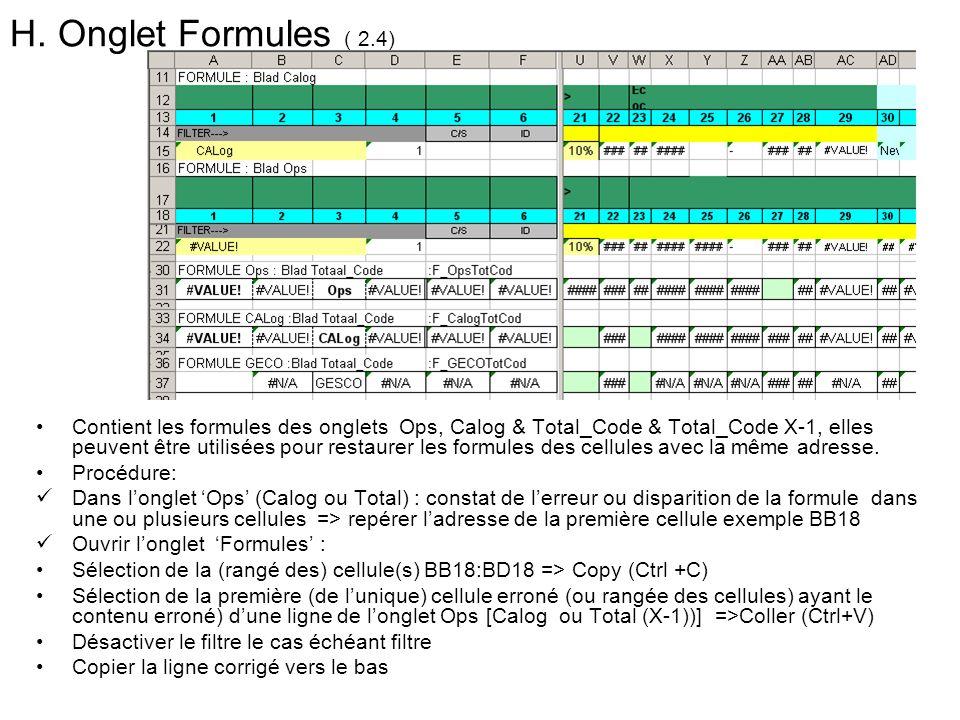 H. Onglet Formules ( 2.4) Contient les formules des onglets Ops, Calog & Total_Code & Total_Code X-1, elles peuvent être utilisées pour restaurer les