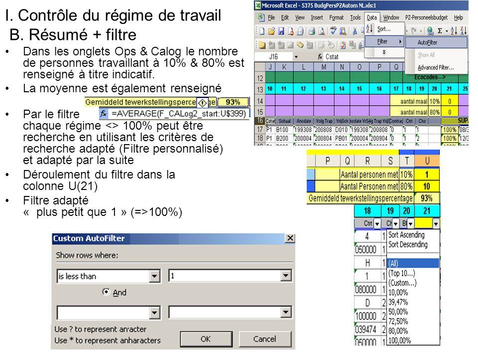 I. Contrôle du régime de travail B. Résumé + filtre Dans les onglets Ops & Calog le nombre de personnes travaillant à 10% & 80% est renseigné à titre