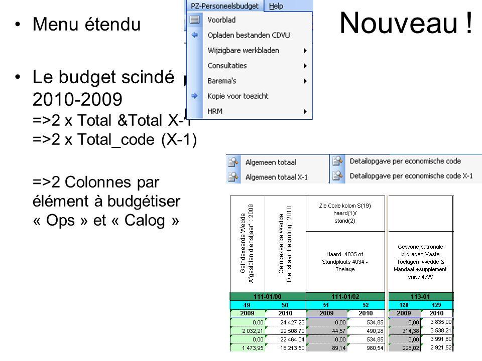 Nouveau ! Menu étendu Le budget scindé 2010-2009 =>2 x Total &Total X-1 =>2 x Total_code (X-1) =>2 Colonnes par élément à budgétiser « Ops » et « Calo