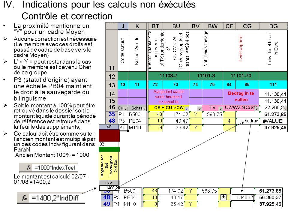 IV. Indications pour les calculs non éxécutés Contrôle et correction La proximité mentionne un Y pour un cadre Moyen Aucune correction est nécessaire