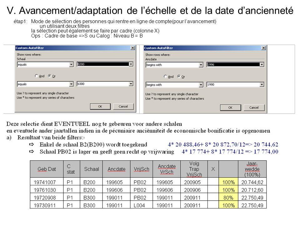 V. Avancement/adaptation de léchelle et de la date dancienneté étap1:Mode de sélection des personnes qui rentre en ligne de compte(pour lavancement) u