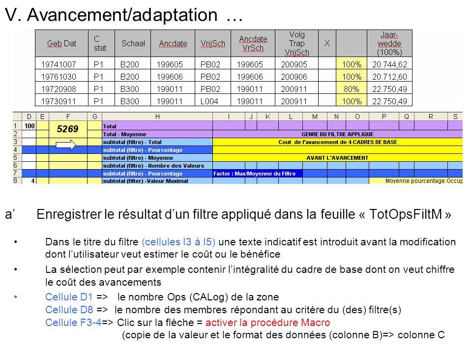 V. Avancement/adaptation … a Enregistrer le résultat dun filtre appliqué dans la feuille « TotOpsFiltM » Dans le titre du filtre (cellules I3 à I5) un