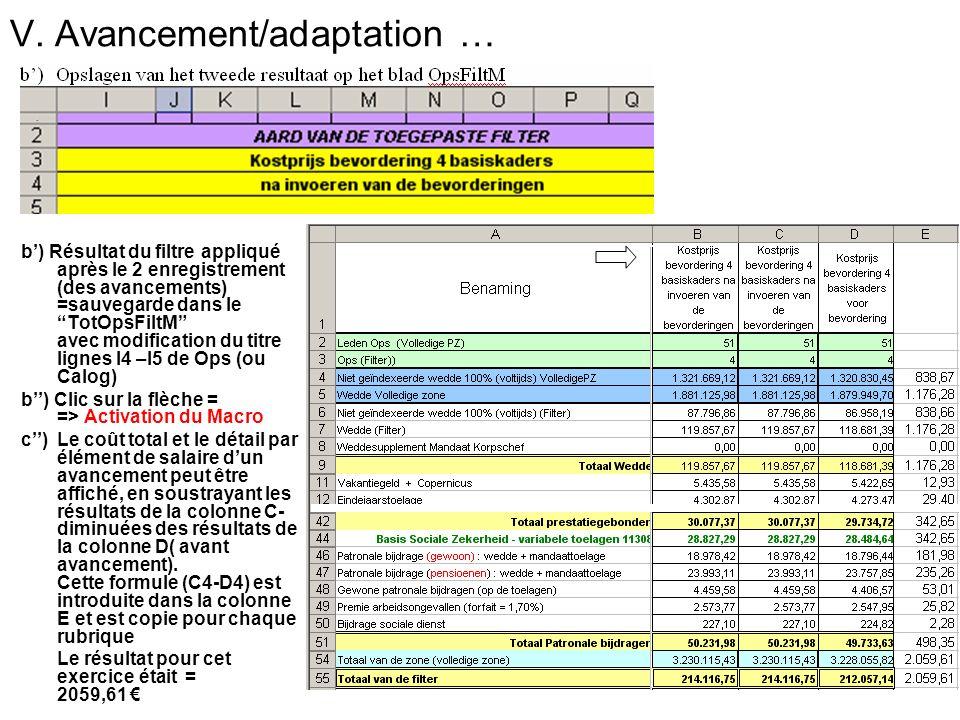 V. Avancement/adaptation … b) Résultat du filtre appliqué après le 2 enregistrement (des avancements) =sauvegarde dans le TotOpsFiltM avec modificatio