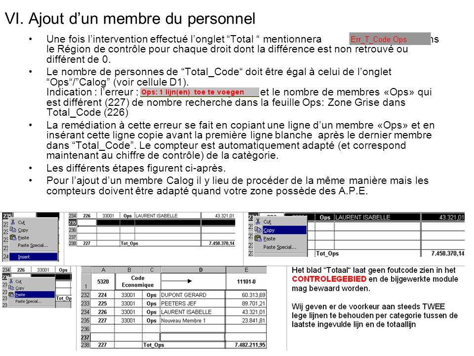 VI. Ajout dun membre du personnel Une fois lintervention effectué longlet Total mentionnera dans le Région de contrôle pour chaque droit dont la diffé