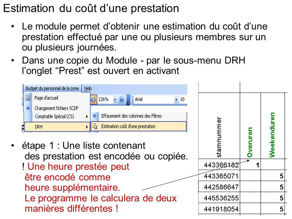 Estimation du coût dune prestation Le module permet dobtenir une estimation du coût dune prestation effectué par une ou plusieurs membres sur un ou pl