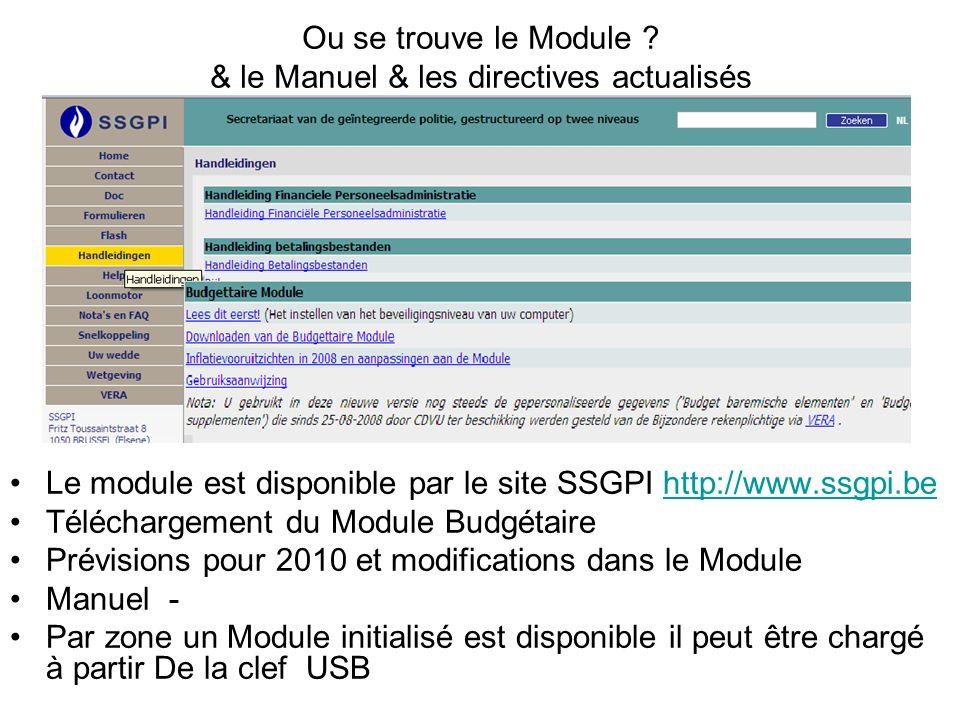 Ou se trouve le Module ? & le Manuel & les directives actualisés Le module est disponible par le site SSGPI http://www.ssgpi.behttp://www.ssgpi.be Tél