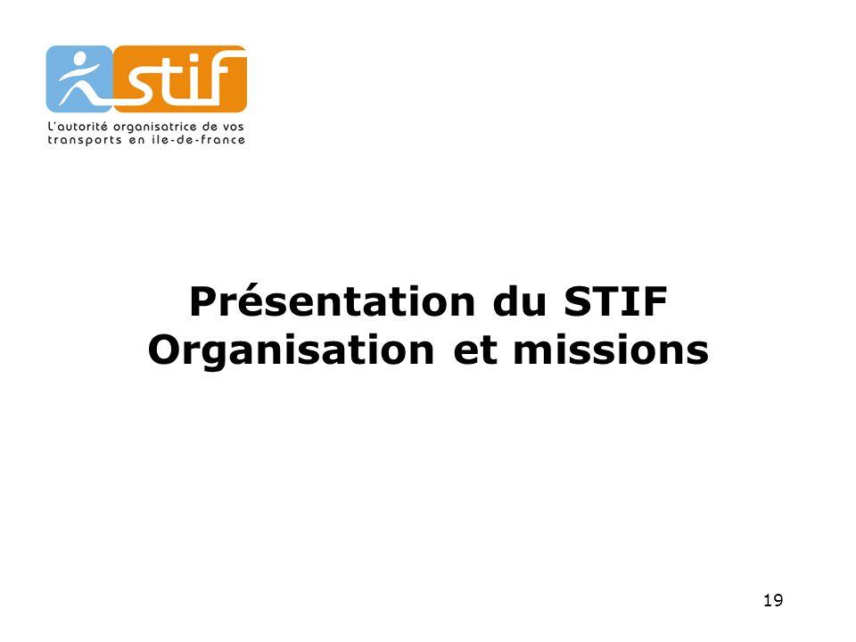 19 Présentation du STIF Organisation et missions