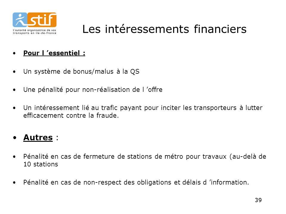 39 Les intéressements financiers Pour l essentiel : Un système de bonus/malus à la QS Une pénalité pour non-réalisation de l offre Un intéressement lié au trafic payant pour inciter les transporteurs à lutter efficacement contre la fraude.