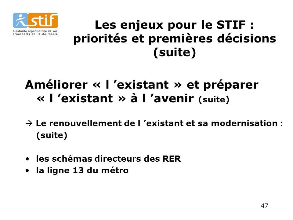 47 Les enjeux pour le STIF : priorités et premières décisions (suite) Améliorer « l existant » et préparer « l existant » à l avenir (suite) Le renouvellement de l existant et sa modernisation : (suite) les schémas directeurs des RER la ligne 13 du métro