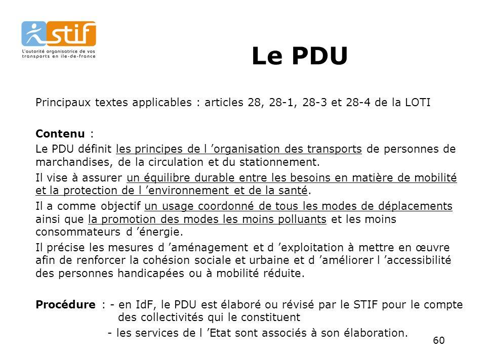 60 Le PDU Principaux textes applicables : articles 28, 28-1, 28-3 et 28-4 de la LOTI Contenu : Le PDU définit les principes de l organisation des transports de personnes de marchandises, de la circulation et du stationnement.