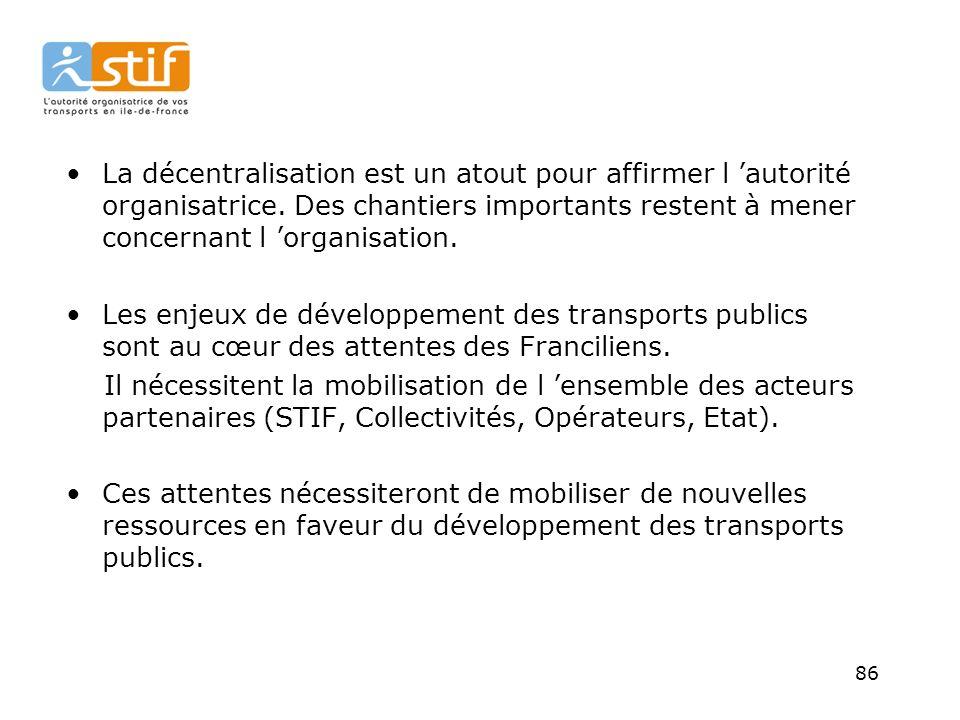 86 La décentralisation est un atout pour affirmer l autorité organisatrice.