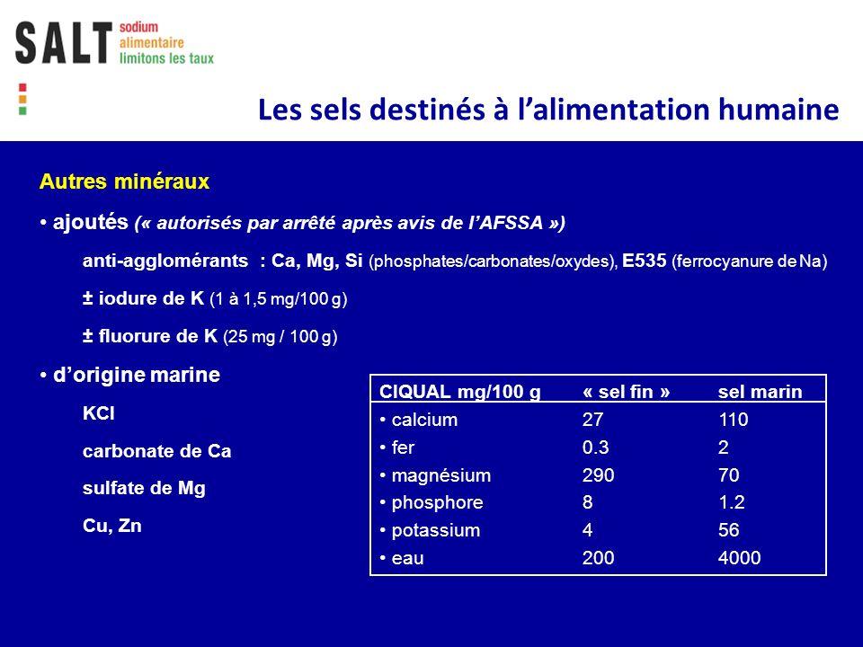 Autres minéraux ajoutés (« autorisés par arrêté après avis de lAFSSA ») anti-agglomérants : Ca, Mg, Si (phosphates/carbonates/oxydes), E535 (ferrocyan